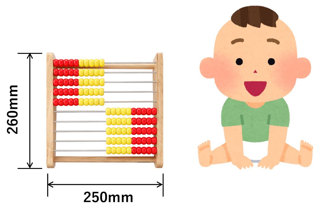 100玉そろばん(トモエ)のサイズ